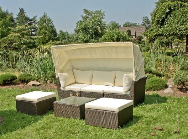 VARILANDO 4-teiliges Lounge-Set aus Kunststoffgeflecht 3-Sitzer Sofa 2 Hocker und Tisch
