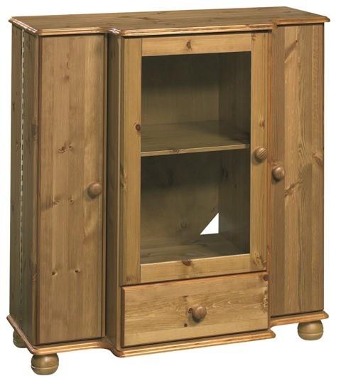 VARILANDO Vitrinen-Schrank mit 2 Türen und Schublade im Landhausstil Kommode TV-Schrank