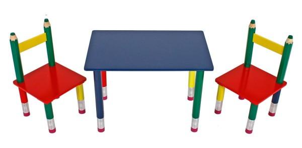 """VARILANDO 3-teilige Tischgruppe für Kinder """"Bleistift"""" Kindertischgruppe"""