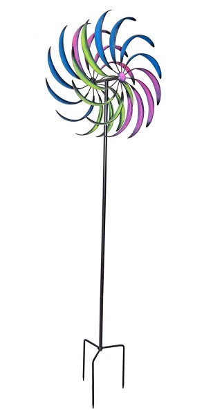 VARILANDO Großes Windrad 210 cm aus Metall Windspiel Deko-Windrad
