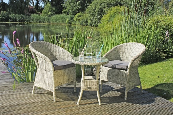 VARILANDO 3-teilige Sitzgruppe aus grauem Kunststoffgeflecht Tischgruppe Gartengruppe Lounge-Gruppe