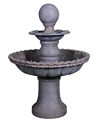 VARILANDO 2-stöckiger Garten-Brunnen aus Polyresin mit Pumpe Springbrunnen Vogeltränke Vogelbrunnen