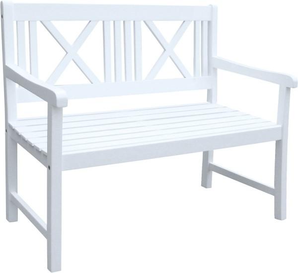 """VARILANDO Gartenbank """"Matthilde"""" als 2-Sitzer aus weiß lackiertem Akazienholz"""