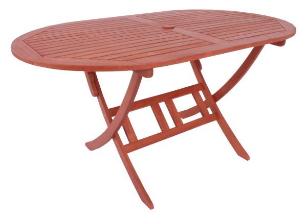 """VARILANDO Gartentisch """"Steward"""" oval klappbar aus geöltem Eukalyptus Holztisch Klapptisch 150 cm"""