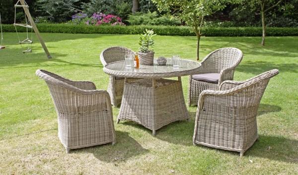 VARILANDO 5-teilige Sitzgruppe aus beigem Kunststoffgeflecht Lounge-Gruppe Gartengruppe Tischgruppe