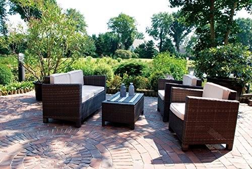 VARILANDO 4-teilige Lounge-Gruppe aus braunem Kunststoffgeflecht Sofa Sessel und Tisch Gartengruppe