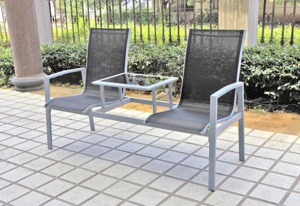 "VARILANDO Doppel-Sessel ""Roberto"" aus Aluminium und Stahl mit Textilene Doppel-Sitz Garten-Sessel Ga"