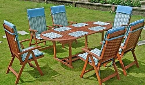"""VARILANDO Tischgruppe """"Steward"""" mit 6 Hochlehnern und Auflagen Sitzgruppe aus geöltem Eukalyptus"""