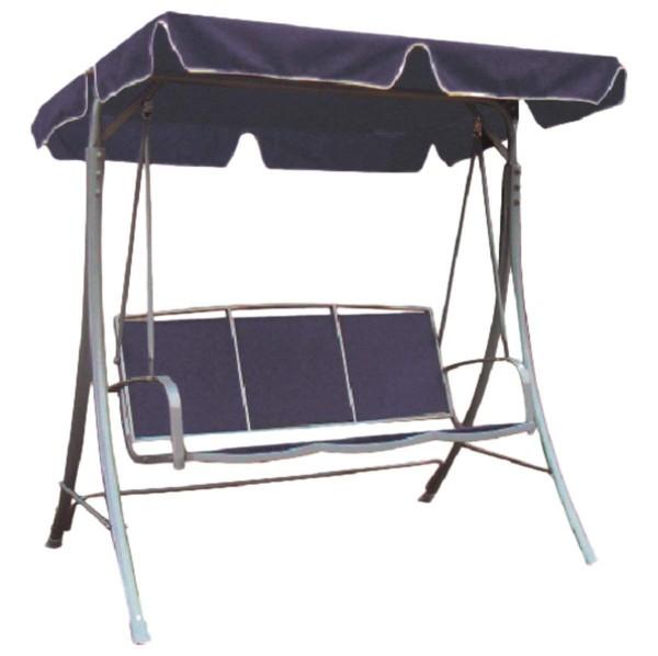 """VARILANDO Hollywoodschaukel """"Emilia"""" als 3-Sitzer mit blauem Stoffdach Gartenschaukel Hollywood"""