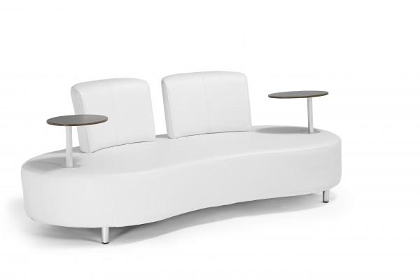 VARILANDO Outdoor-Sofa aus Aluminium und weißem Kunstleder Garten-Couch Gartensofa