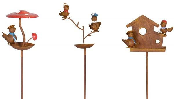 VARILANDO Metall-Gartenstecker Rusty Birds 3er-Set Vogelfutter Vogeltränke