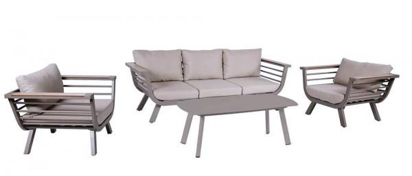 VARILANDO® Moderne 4-teilige Lounge-Gruppe aus Aluminium in hellgrau Garten-Gruppe Sitzgruppe Lounge