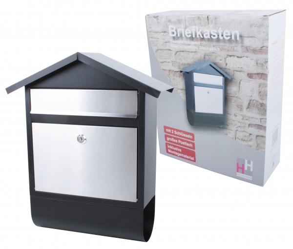 VARILANDO verschließbarer Briefkasten aus Edelstahl mit Zeitungsrolle Postkasten