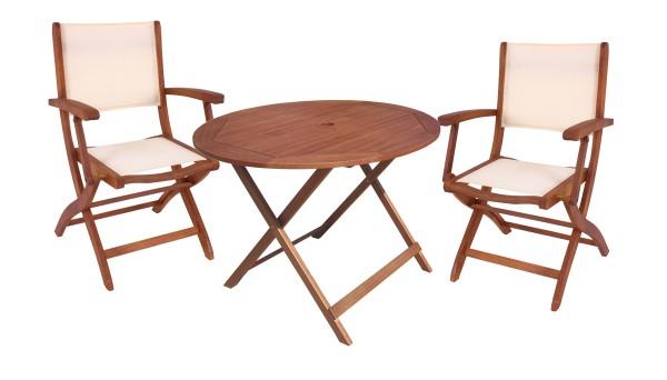 """VARILANDO Tischgruppe """"Fargo"""" aus Eukalyptus mit 2 Klapparmstühlen und Klapptisch Ø90 cm Sitzgruppe"""