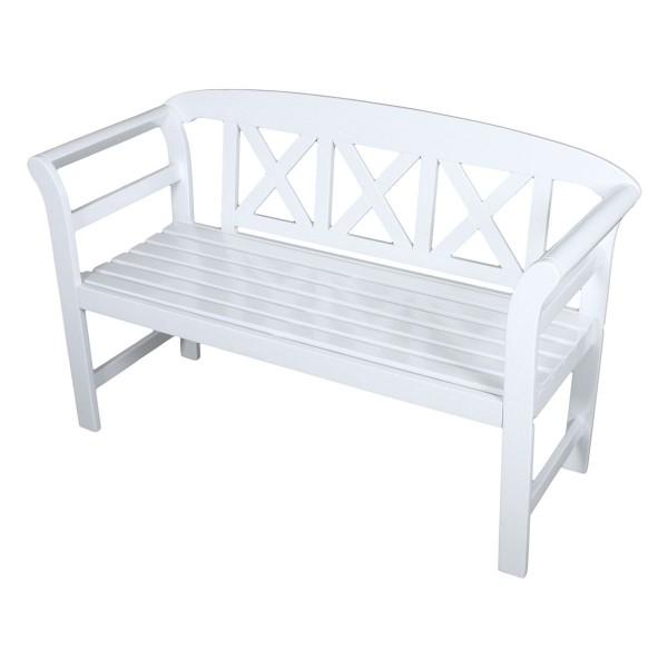 """VARILANDO® 2-Sitzer Gartenbank """"Vincent"""" aus weiß lackiertem Eukalyptus Holzbank Sitzbank Schweden"""