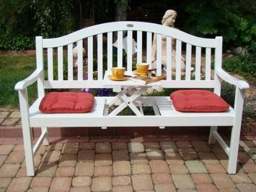 "VARILANDO Gartenbank ""Primrose"" aus weiß lackiertem Eukalyptus Holzbank Sitzbank 3-Sitzer"