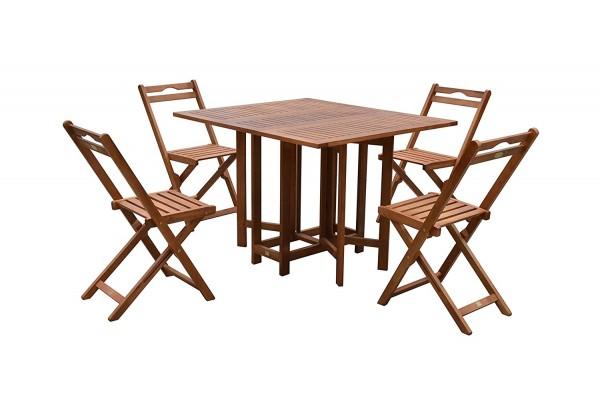 VARILANDO Moderne 5-teilige Tischgruppe aus geöltem Eukalyptus Sitzgruppe Gartengruppe Essgruppe