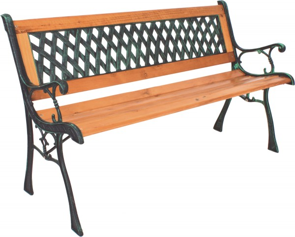 VARILANDO Parkbank im Antik-Look aus Hartholz PVC und Metall Gartenbank Sitzbank 2-Sitzer