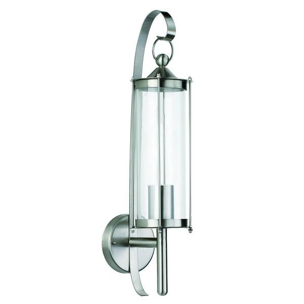 VARILANDO Wandleuchte aus Edelstahl mit Glas 52,5 cm Gartenlicht Gartenlampe Wegelampe Wegeleuchte