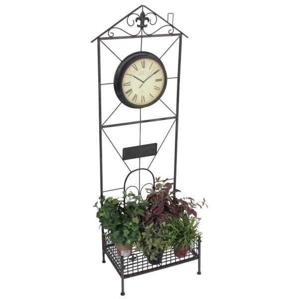 VARILANDO® dekorativer Pflanzen-Ständer mit Uhr Blumen-Ständer Pflanzen-Regal Pflanz-Regal aus Metal