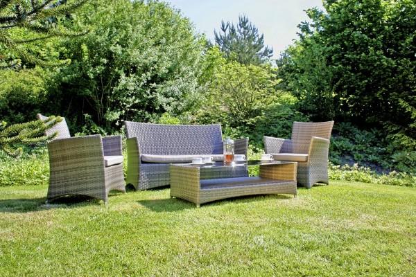VARILANDO 4-teilige Lounge-Gruppe aus dunkelgrauem Kunststoffgeflecht 2-Sitzer Sofa Sessel und Tisch