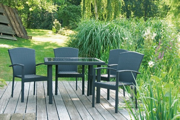 """VARILANDO 5-teilige Tischgruppe """"M2""""aus schwarzbraunem Kunststoffgeflecht Tisch mit Glasplatte"""