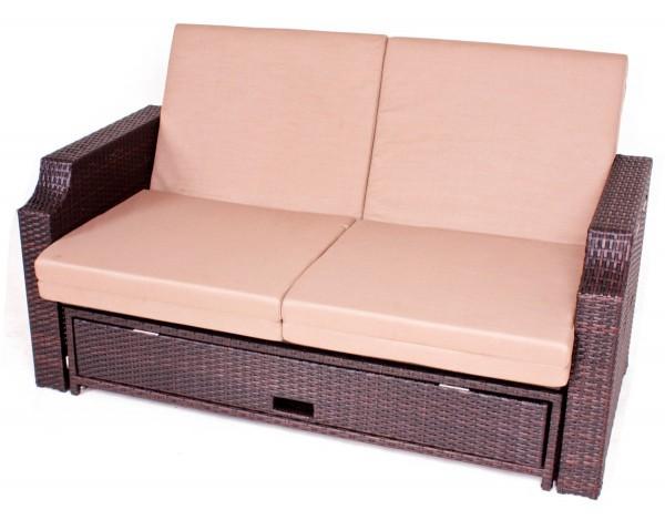 VARILANDO Multifunktions-Sofa aus braunem Kunststoffgeflecht Garten-Sofa Garten-Couch Lounge-Sofa