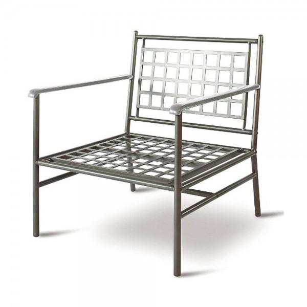"""VARILANDO moderner Tiefsitzer-Sessel """"Karl"""" aus polyester-beschichtetem Metall Armlehnen-Stuhl"""