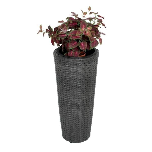 VARILANDO Runder Übertopf aus Kunststoff in der Farbe dunkelgrau Ø28 cm Pflanztopf Pflanzkübel
