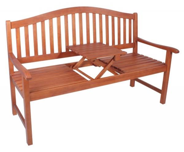 """VARILANDO Gartenbank """"Primrose"""" mit hochklappbarem Tisch aus geöltem Eukalyptus Hochzeitsbank"""