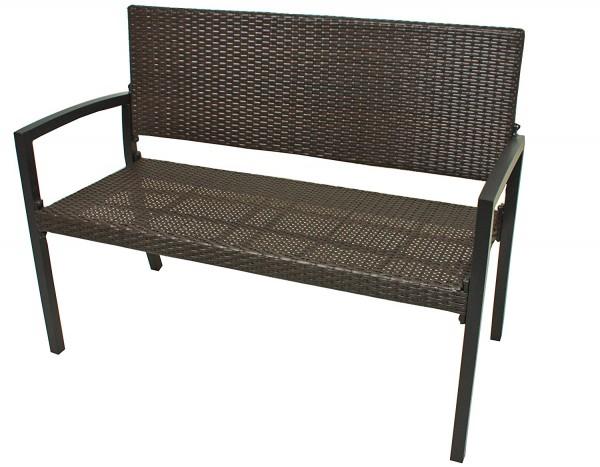 VARILANDO Gartenbank Parkbank Sitzbank 2-Sitzer aus braunem Kunststoffgeflecht und Aluminium