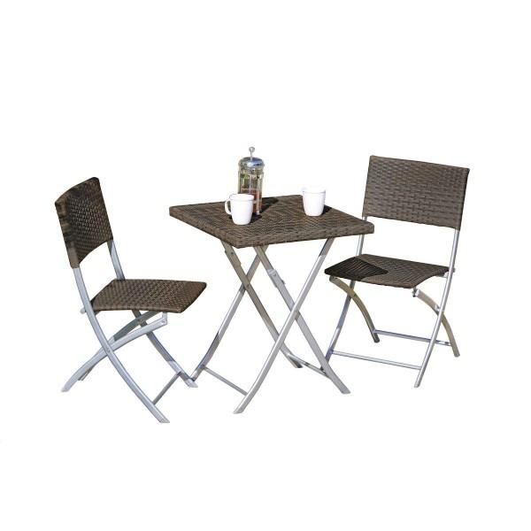 VARILANDO 3-teilige Tischgruppe aus dunkelbraunem Kunststoffgeflecht