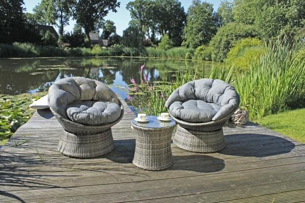 """VARILANDO 3-teiliges Club-Set """"Lasse"""" bestehend aus einem Tisch und 2 wuchtigen Sesseln mit Kissen"""