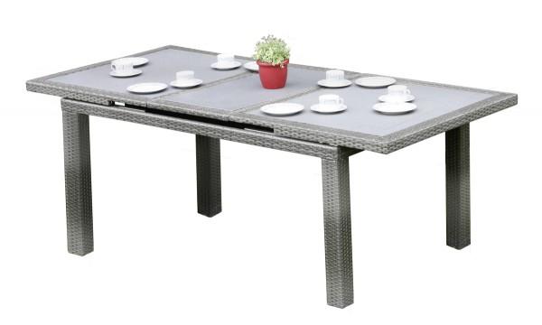 VARILANDO 7-teilige Tischgruppe Stapelstuhl Ausziehtisch mit Glasplatte Sitzgruppe Gartengruppe