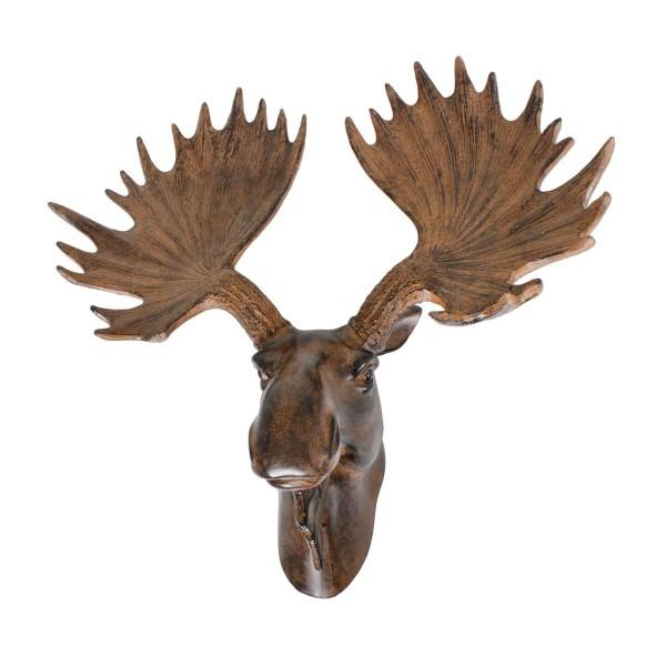 VARILANDO Elch-Kopf aus Polyresin als Wanddekoration Elch-Geweih