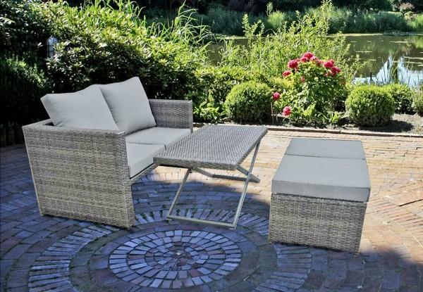 VARILANDO 4-teiliges Lounge-Set aus hellem Kunststoffgeflecht Sofa Tisch Hocker Gartengruppe
