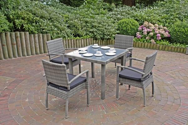 """VARILANDO Tisch """"M"""" aus grauem Kunststoffgeflecht mit Glasplatte 90x90 cm Gartentisch Esstisch"""