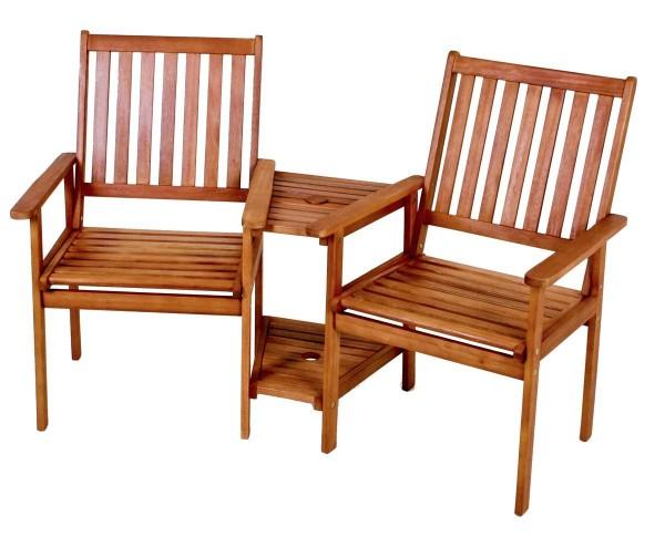VARILANDO Doppelsessel mit Tisch und Schirmhalterung aus geöltem Eukalyptus Gartensessel Gartenstuhl