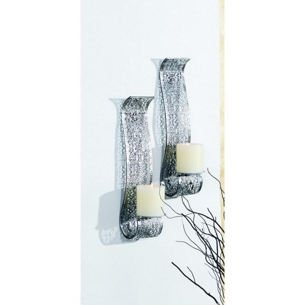VARILANDO silberfarbener Wandkerzenhalter aus Metall im 2er-Set Kerzenhalter Antik-Look