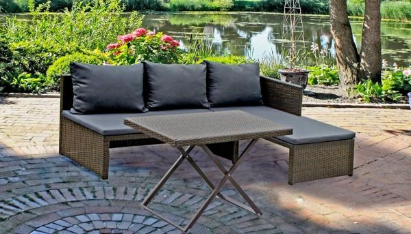 VARILANDO 3-teiliges Lounge-Set aus braunem Kunststoffgeflecht Bank Tisch Sitzgruppe Gartengruppe