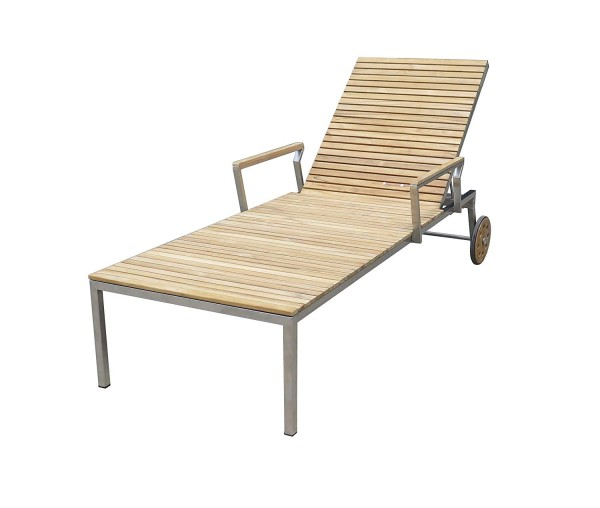 VARILANDO® Sonnenliege Diego aus Edelstahl und Teak-Holz Garten-Liege Deckchair