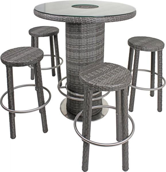 """VARILANDO Bar-Set """"Emma"""" in dunkelgrau 5-teilig Bar-Hocker mit Tisch Sitzgruppe Tischgruppe"""